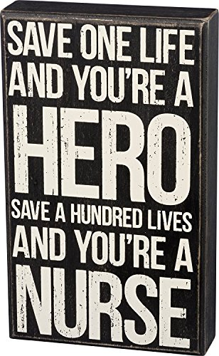 Primitives by Kathy - Save Life Nurse Wood Box Sign Distressed Black and White 6 inches x 10 inches