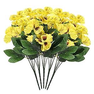 Silk Flower Arrangements Idlespace 10 Head Simulation Pansy Flower Plant Bunch Artificial Silk Bouquet for Festival, Wedding, Home & Room Office Floral Decor (5pcs Yellow)