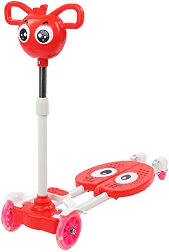 YUANLAISHINI Kinderroller, Scissor Scooter, 3 h nverstellbare, LED-beleuchtete R r, geeignet für Kinder von 3 bis 8 Jahren, 80 kg Tragf gkeit