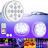 Luces Sumergibles GolWof Led Sumergible 2 Pack 13 LEDs 16 Colores Luz LED Impermeable IP68 Luz Sumergible con Control Remoto Luz de Piscina para...