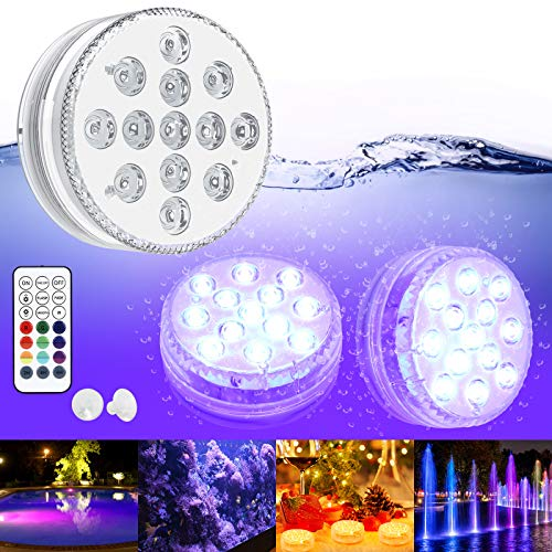 Submersible LED Lights GolWof 2 Pack 13 LED Hot Tub Lights RGB Multicolor Underwater Light IP68 Waterproof Pool Lights Underwater with RF Remote Control Decoration for Dining Table Vase Base Fish Tank