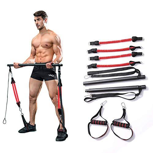 Tragbares Pilates Bar Kit Mit Widerstandsband,Bodybuilding Yoga Übung Pilates Stick Mit Fußschlaufe Für Ganzkörpertraining, Yoga, Fitness, Stretch, Sculpt,Schwarz,B*4 Pieces