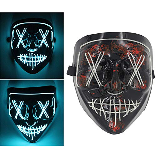 SXDY Halloween Led Masken, Halloween Party Cosplay Led Maske, Led Purge Maske, Halloween Paintball Cosplay Party - für Erwachsene Männer Frauen Jungen Mädchen