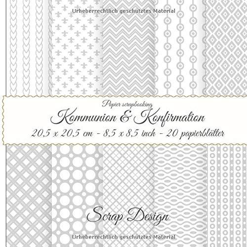 Papier scrapbooking Kommunion & Konfirmation 20,5 x 20,5 cm - 8,5 x 8,5 inch 20 papierblätter