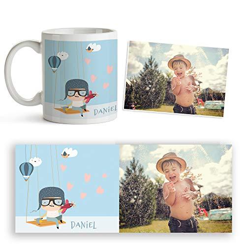 Fotoprix Taza personalizada infantil con foto y nombre | Niñas y niños | Muy resistente | Vuelta al cole | Varios diseños exclusivos a elegir