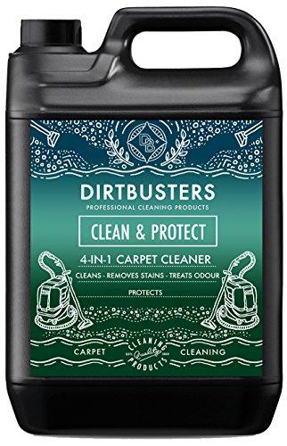 Dirtbusters Clean & Protect 4 en 1 5 litros profesional de concentrado para alfombras y tapicería limpiador de extracción Champú solución con Citrus Fresh