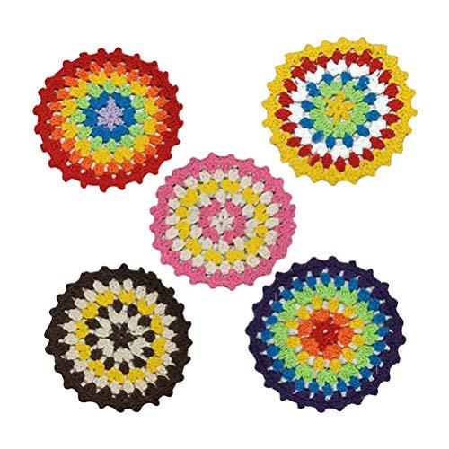 Bestonzon, sottobicchieri in cotone all'uncinetto, realizzati a mano, colori arcobaleno (colore casuale) 10 pezzi