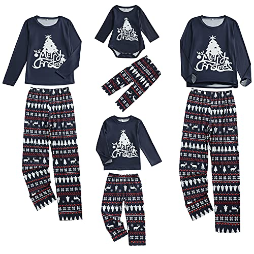 Conjunto de pijamas de Navidad de la familia de la moda de los padres-hijos de la ropa de dormir del árbol de impresión de manga larga Tops + pantalones ropa de hogar, Azul marino Kid, 4-5 años