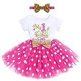 FYMNSI - Vestito da principessa, a maniche corte, per primo o secondo compleanno, da sera, in tulle, età: 1-2 anni Rosa vivace il mio 1° compleanno 1 Anno