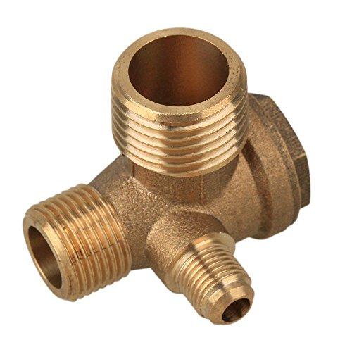 Chiloskit 3-Port Brass Male Threaded Air Compressor Check Valve Central Pneumatic, G1/8x G3/8x G1/2