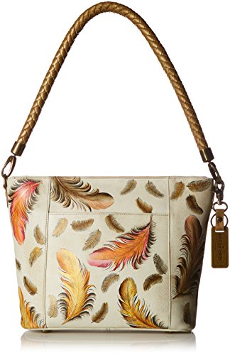 Anuschka Women's Leather Medium Hobo | Hand Painted Original Artwork | Floating Feathers Ivory