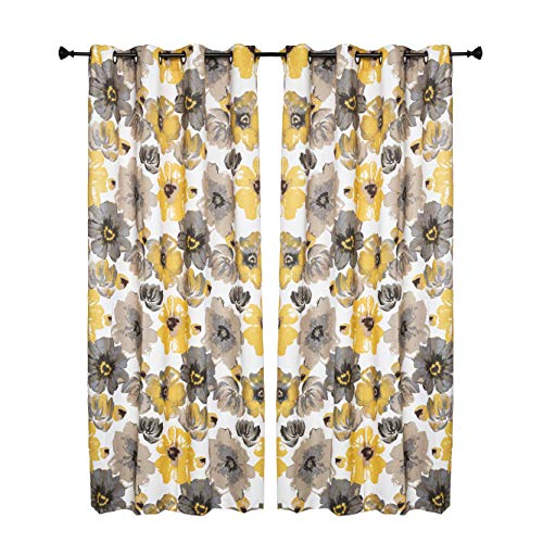 """Set of 2 Grommet Floral 52"""" W x 84"""" L (104"""" Total Width) Decorative Window Curtain Panels, White/Yellow/ Dark Beige/Gray Room Darkening Soft and Heavy Panels for Living Room/Bedroom, Lily 84"""" Yellow"""