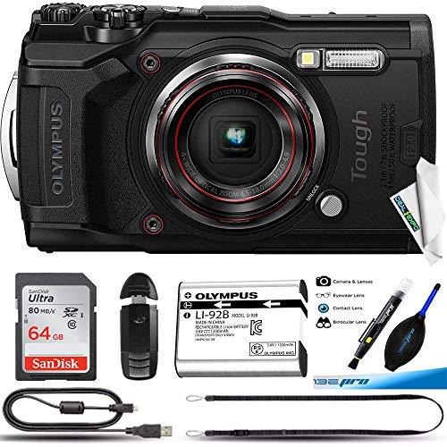 Olympus Tough TG-6 Waterproof Camera, Black -64GB Basic Bundle