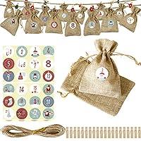 クリスマスアドベントカレンダーギフトバッグ、DIYカウントダウン24日間ハンギングバーラップギフトバッグキャンディーバッグ、ホームオフィスのクリスマスデコレーションクリスマスツリー