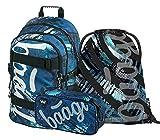 Schulrucksack Set Jungen 3 Teilig, Schultasche ab 3. Klasse, Grundschule Ranzen mit Brustgurt, Ergonomischer Schulranzen (Skate Strukturen)