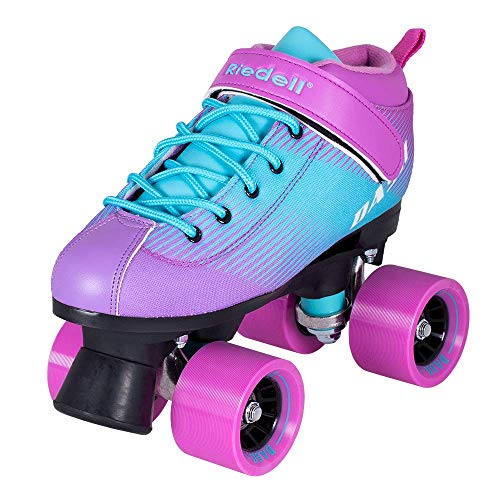 Riedell Skates - Dash - Indoor Quad Roller Skate for Kids | Lavender & Aqua | Size 6 |