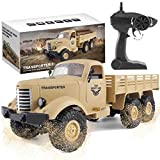 The perseids RC Military Truck, 1:16 Scale 2.4G 6WD Heavy Off-Road Vehicle Remote Control Truck, Full Proportion Army Car Toy para niños y Adultos (Amarillo)