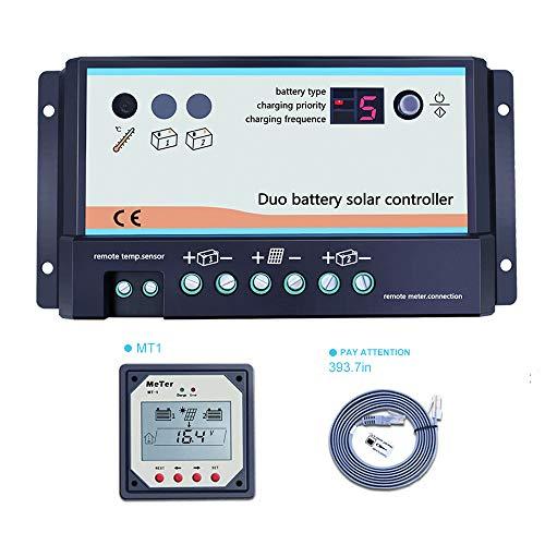 EPEVER Solar Laderegler 12V 24V Solarladeregler für 2 Batterien 10A 20A Solarregler Wohnmobile und Boote geeignet mit MT1 Fernbedienung