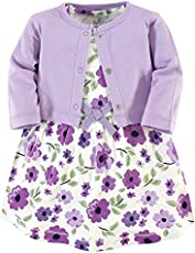 Touched by Nature Baby Girls' Organic Cotton Dress and Cardigan, Purple Garden, 3-6 Months