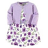 Touched by Nature Baby Girls' Organic Cotton Dress and Cardigan, Purple Garden, 12-18 Months