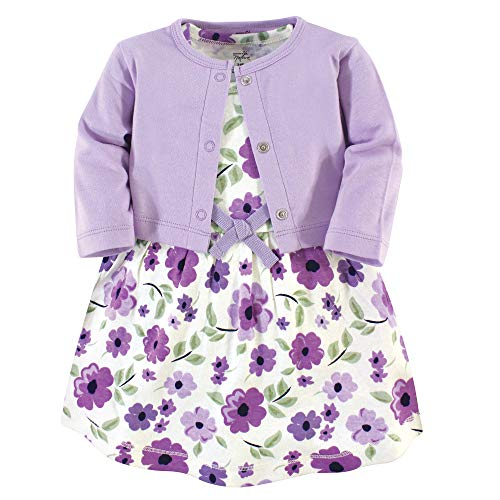 Touched by Nature Baby Girls Organic Cotton Dress and Cardigan, Purple Garden, 0-3 Months