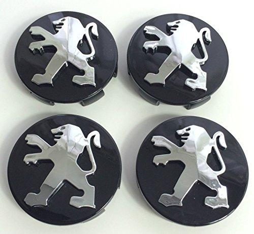Juego de 4 tapacubos de alta calidad Peugeot, 60 mm, aleación, logotipo con emblema color negro cromado, tapacubos para las llantas, para Peugeot