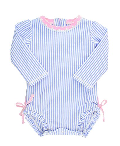 RuffleButts Baby/Toddler Girls Long Sleeve One Piece Swimsuit - Blue Seersucker with UPF 50+ Sun Protection - 3-6m