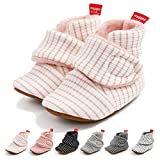 Baby Boys Girls Fleece Booties Infant Cotton Socks Newborn Soft Sole Winter Warm Stay On Slippers Non-Skid Cozy Crib Shoes(0-6 Months M US Infant,H-Light Pink)