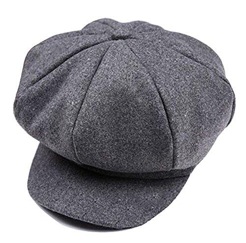 Gorra retro de estilo panadero con soporte de visera, boina de inviernos para niños gris Gris