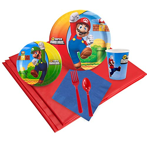 BirthdayExpress Super Mario Bros Party Supplies - Party Pack for 24