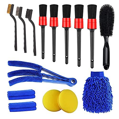 badewanne Juego de cepillos de belleza para coche, cepillo de limpieza, cepillo de detalles, cepillo de cerdas de coche adecuado para limpiar coches, motocicletas, etc.