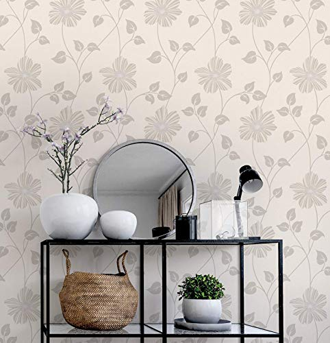 Papel pintado flores – Floral Vintage – rústico acogedor papel pintado para dormitorio, para salón o pasillo – beige claro crema – Fabricado en Alemania – Novamur - 10,05mx0,53m