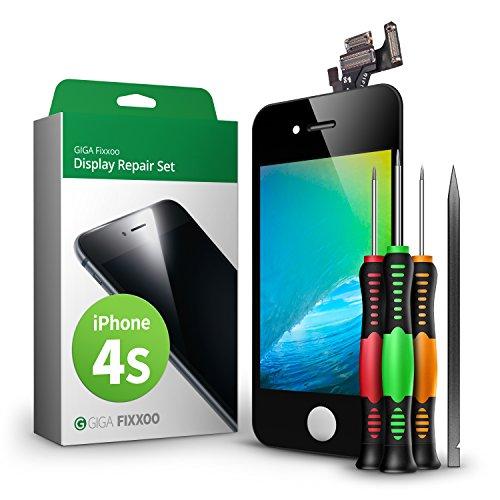 GIGA Fixxoo Kit di Ricambio per Schermo di iPhone 4s, Completo con LCD Nero, Touch Screen Display Retina in Vetro, Fotocamera e Sensore di Prossimità - Guida Illustrata per Riparazione Facile