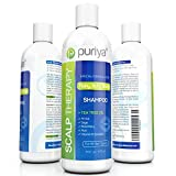 Puriya Sulfate-Free Scalp Clarifying Shampoo with Tea Tree Oil, Safe and Paraben Free Plant-Rich Formula, Ideal for Hydrating and Moisturizing Treatment of Dry, Itchy, Flaky Scalp and Hair, 16 oz