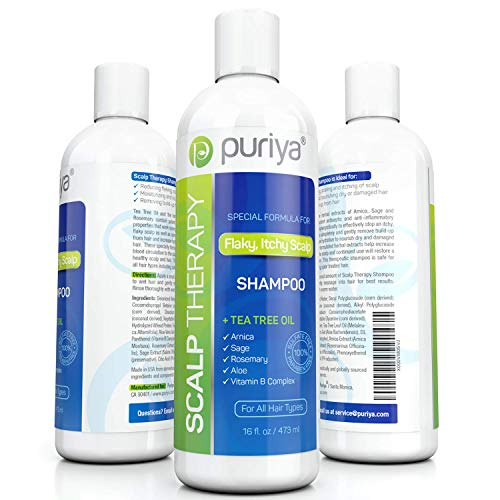 Puriya Sulfate Free Shampoo, Plant Based Tea Tree Shampoo, Safe and Paraben Free, Ideal for Hydrating and Moisturizing Treatment of Dry, Itchy, Flaky Scalp and Hair, 16 oz