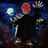 Easnwllim Halloween Decorations Zombie Groundbreaker, Halloween Props Movable Zombie Support Sound Activation with Glowing Eyes and Creepy Sound for Outdoor, Lawn, Yard, Haunted House Decorations