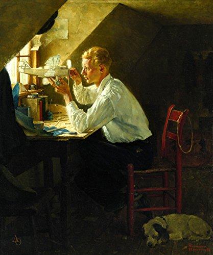 Jovem Construindo um Modelo de Avião Examinando Atentamente com Óculos 1929 Pintura de Norman Rockwell na Tela em Vários Tamanhos (68 cm X 55 cm tamanho da imagem)