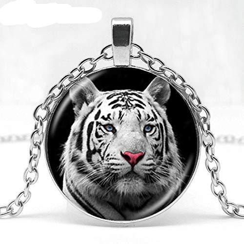 Collar de tigre blanco con colgante de gato grande natural de la selva, collar cilíndrico de cristal