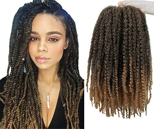 4 Packungen Marley Flechten Haar Afro Kinky Extensions Twist Crochet Braids Synthetisches Haar 18 Zoll (1B/27)
