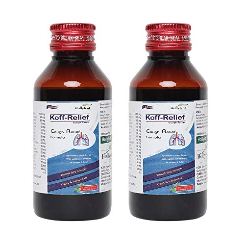 Hollyleaf lifecare Koff-Relief Cough syrup, Ayurvedic Cough syrup with additional benefits of Ginger & Tulsi, Relief dry cough and cold & influenza, 100 ml (pack of 2)