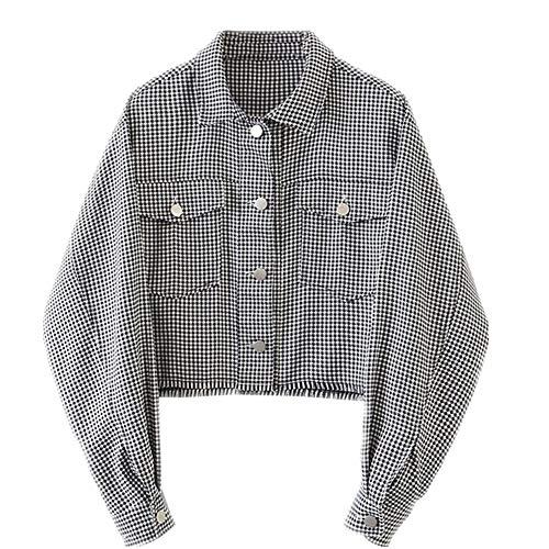 N\P Otoño Gota Hombro Check Plaid Short Jacket Vintage Mujeres