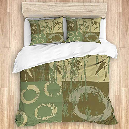 Juego de funda nórdica de 3 piezas, círculo zen de bambú y estampado de arte de patchwork oriental oriental de color vintage de bambú, juegos de fundas de edredón de edredón para dormitorio, colcha co