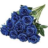 Nubry Flor de Rosa de Seda Artificial de un Solo Tallo de Ro
