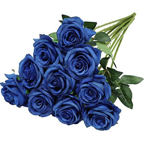 Nubry Flor de Rosa de Seda Artificial de un Solo Tallo de Rosa Falsa para el Ramo de Bodas Arreglos Florales Decoración del Centro de Mesa para Fiestas en casa, 10pcs (Azul)