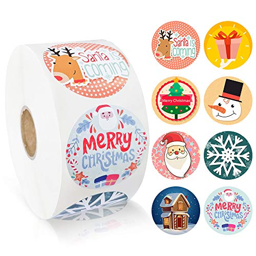 ziidoo 1000pcs Christmas Holiday Stickers, Santa, Christmas Tree, Snowflake, Snowflake, Snowman and Merry Christmas Stickers for Christmas Party Supplies, Gift for Boys and Christmas Girls