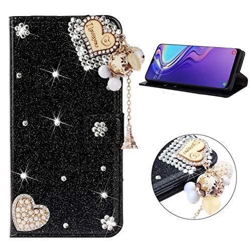 Miagon Hülle Glitzer für Samsung Galaxy A10/M10,Luxus Diamant Strass Herz PU Leder Handyhülle Ständer Funktion Schutzhülle Brieftasche Cover,Schwarz