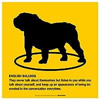 ENGLISH BULLDOG'S POEMマグネットサイン:イングリッシュブルドッグ(イエロー/Lサイズ) アメリカの詩 英語 愛犬家 優しさ防犯 マグネットステッカー