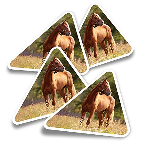 Vinyl Triangle Stickers (Set of 4) - Welsh Cob Horse Pony Cute Fun Decals for Laptops,Tablets,Luggage,Scrap Booking,Fridges #2277