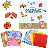Kit de origami colorido Sunerly con libro instructivo de 14 páginas 74 Papeles de origami vívidos de doble cara 27 Proyectos Origami para niños Clases de capacitación