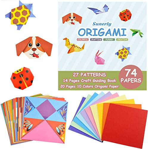 Sunerly Colourful Origami Kit with 14-Page Instructional Book 74 Double Sided Vivid Origami Papers 27 Projects Origami for Kids Beginners Trainning and School Craft Lessons